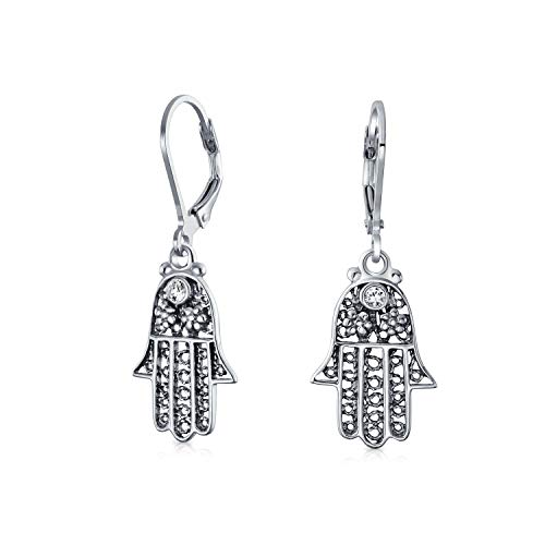 (Hamsa Hand Of God Floral Filigree Leverback Dangle Earrings For Women For Teen Oxidized 925 Sterling Silver)