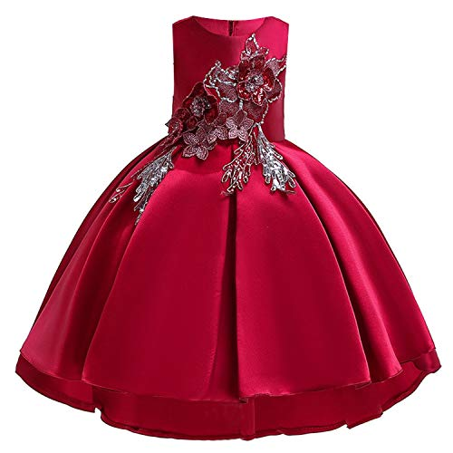 (Summer Kids Dresses Wedding Dress Elegant Toddler Girls Princess Evening Party Dresses,Wine)
