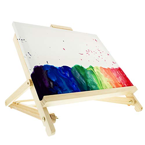US Art Supply 21-Piece Acrylic Painting Table Easel Set with, 12-Tubes Acrylic Painting Colors, 11''x14'' Stretched Canvas, 6 Artist Brushes, Plastic Palette with 10 Wells by US Art Supply (Image #4)