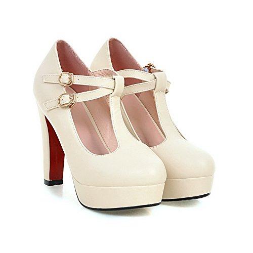 AllhqFashion Damen Weiches Material Rund Zehe Hoher Absatz Schnalle Rein Pumps Schuhe Cremefarben