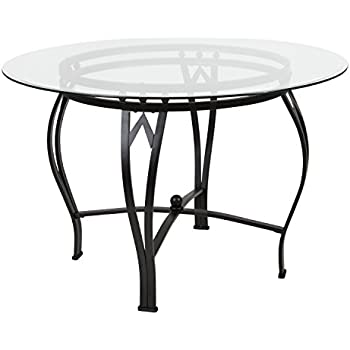 Flash Furniture Syracuse 45u0027u0027 Round Glass Dining Table With Black Metal  Frame