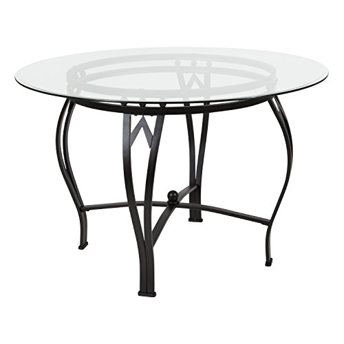 Flash Furniture Syracuse 45'' Round Glass Dining Table with Black Metal (Base Round Glass Top)