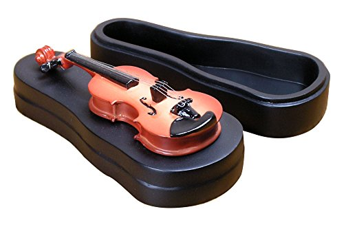 BANBERRY DESIGNS Ring Holder - Violin Style Box With Velvet Trimmed Inside - Music Gifts - Violin Player