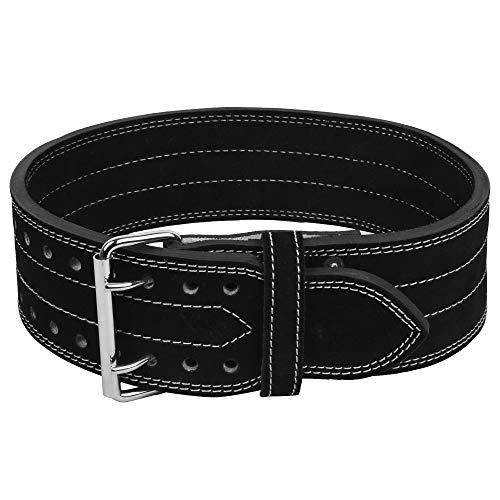 DEFY Leather Power Lifting Weight Belt Men & Women Weightlifting Competition Power Belt (Black, Medium)