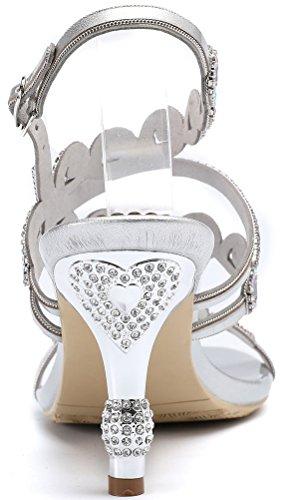 Hübsche Freizeit Party Schuhe Damen Work Sandalen Heels Schöne Strass Silber Bridemaid Brautkleid L047 Job Sexy Braut Salabobo Performance Glänzender Stilettos qTg86q1