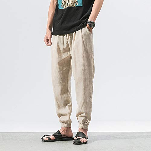 Spbamboo Mens Casual Pants Slim Sports Pants Ankle Length Linen Baggy Trousers by Spbamboo (Image #2)