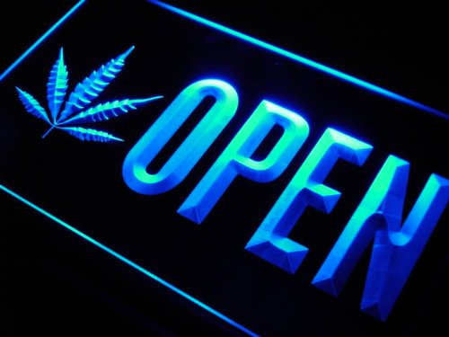 OPEN Marijuana Hemp Leaf High Life LED Sign Night Light
