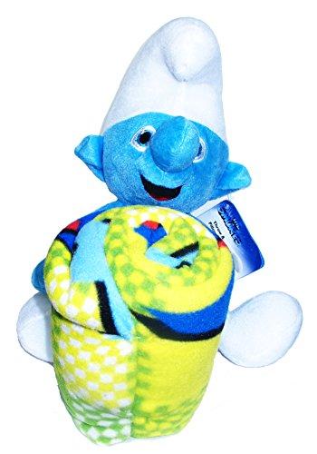 Smurfs Plush Doll and Fleece Blanket Set for Children and Smurf Fans -