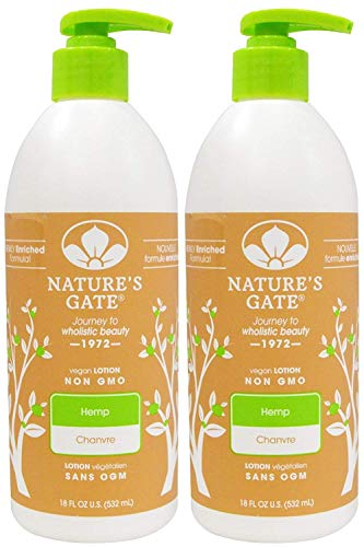Nature's Gate Hemp Moisturizing Lotion for Dry/Dehydrated Skin, 18-Ounce Pumps (Pack of 2)