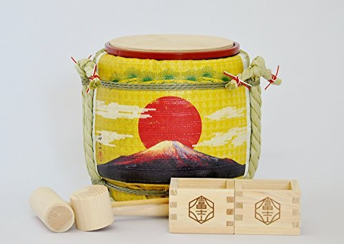 Mini Komodaru Sake-Barrel Set ''The rising sun-Goraiko''