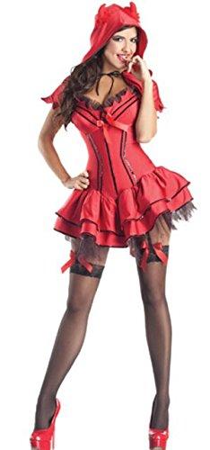 LLY Costume de Diable Rouge à Paillettes Halloween Partie Uniformes de rôle Tentation