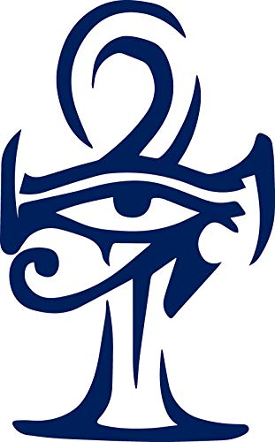 Ankh Symbol (Navy Blue) (Set of 2) Premium Waterproof Vinyl Decal Stickers for Laptop Phone Accessory Helmet Car Window Bumper Mug Tuber Cup Door Wall Decoration ()