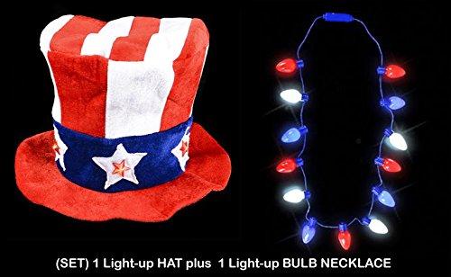 [(PATRIOTIC SET) LIGHT-UP Uncle Sam Velvet Top Hat PLUS Bulb Necklace] (Velvet Uncle Sam Top Hat)