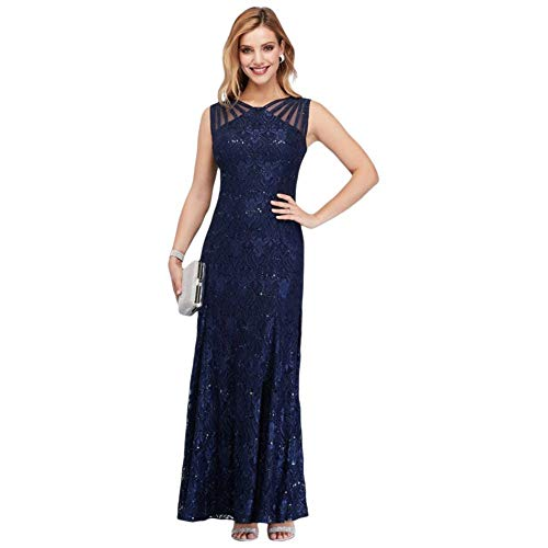 Sequin Lace Mermaid Mother of Bride/Groom Dress with Illusion Detail Style 3198, Navy, 6 (Long Wedding Reception Dresses For The Bride)