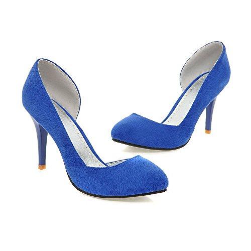 AllhqFashion Mujer Puntera en Punta Puntera Cerrada Tacón Alto Esmerilado Sólido Sin cordones De salón Azul