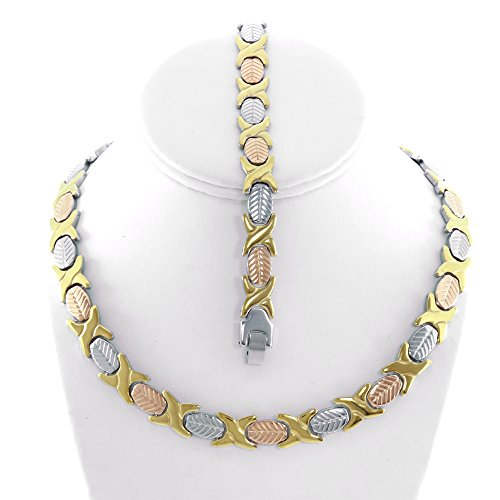 Gold Womens Stampato Bracelet - NEW Womens Three Tone (Gold Rose & Silver) XOXO Stampato Necklace and Bracelet Set 18