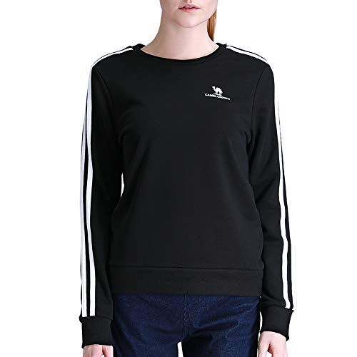 CAMEL CROWN Womans Pullover Sweatshirt Casual Fashion Teens Sports Crewneck Striped Cotton Shirts for Girls