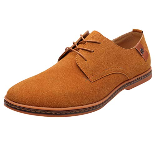 Sunhusing Men's British Style Business Microfiber Dress Shoes Casual Lace-Up Flat Bottom Oxford Shoes Coffee ()