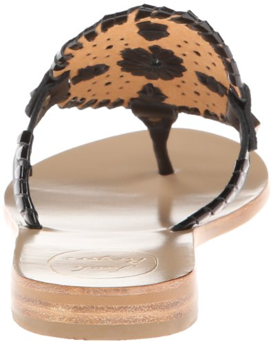 Jack Rogers Women's Georgica Dress Sandal, Bone/White, 6 M US Black/Black Patent