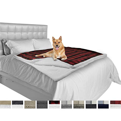 (PetAmi Dog Blanket for Large Dog, Bed Couch | Soft Warm Fluffy Pet Blanket Furniture Protector | Reversible Fleece Microfiber Sherpa Throw Mat for Medium Dogs Doggy Cat (60x80 Check Red))
