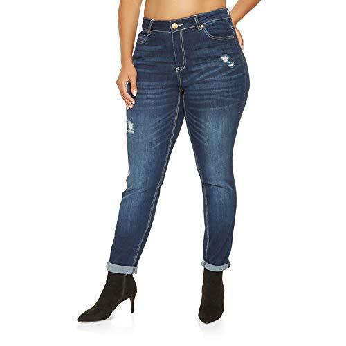TOOGOO Moda Mujer Tallas Grandes Pantalones Vaqueros Cintura ...