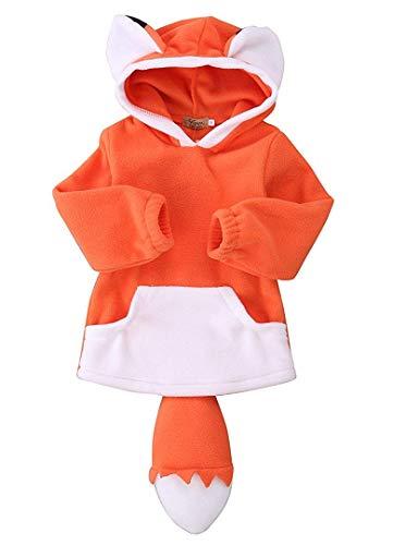 Baby Kids Boys Girls Cute Fox Cloak Hooded Outfits Hoodie Coat Outwear Jacket (Orange, 1 T)