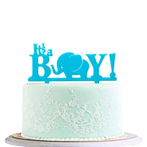 BLINGBLING BOY Cake Topper Acrylic with Elephant - Light Blue Cake Topper for Baby Boys Neutral Kids - Birthday Party Baby Shower Decorations Party Supplies ()