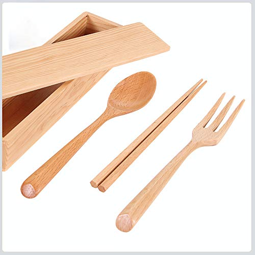 (Kanhan Portable Tableware Dinnerware Set A Four-Piece Set of Wooden Tableware for Outdoor Travel)