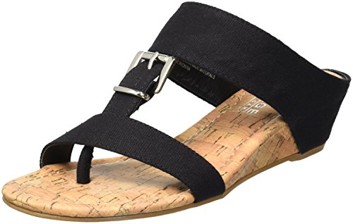 Rampage Women's Senorita Cork Demi T-Strap Thong Wedge Sandal, Black Canvas, 7.5 M US (Rampage Shoes Com)