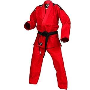 Red Kids Gi by KO Sports Gear – 100% Cotton Pearl Weave Gi - KOmpetition Series - BJJ Jiu Jitsu Kimono and Pants (M0)