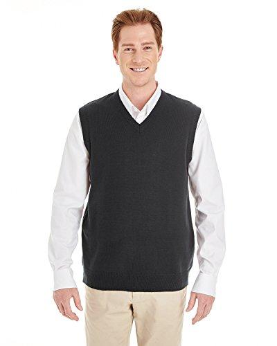 Vest Sweater V-neck Performance (Harriton Mens Pilbloc V-Neck Sweater Vest (M415) -BLACK -XL)