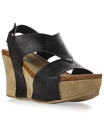 Womens Strappy Elastic Platform Sandals product image