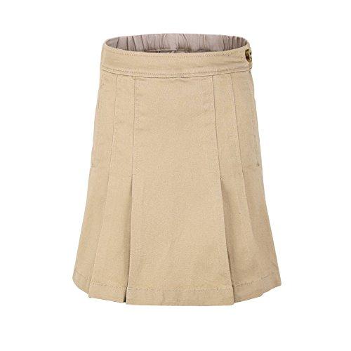Bienzoe Girl's Cotton Stretchy Twill School Uniforms Pocket Pleated Skirt