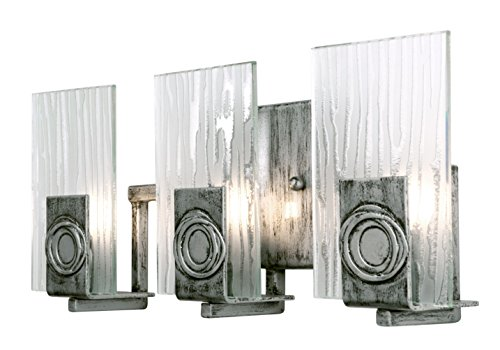 Varaluz 182B03 Polar 3-Light Vanity - Blackened Silver Finish with Ice Crystal Recycled Glass ()