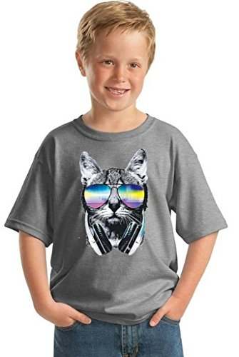 Youth Cat Music Sunglasses T-Shirt Gift for Kids Pet Face Animal Lover Shirt S ()