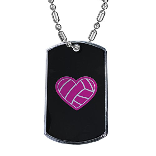 Sunshine Cases I Love Volleyball - Military Dog Tag Luggage Tag Key Chain Metal Chain ()