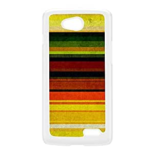 Horizontal Colorful Stripes Pattern White Hard Plastic Case for LG L90 by UltraCases + FREE Crystal Clear Screen Protector