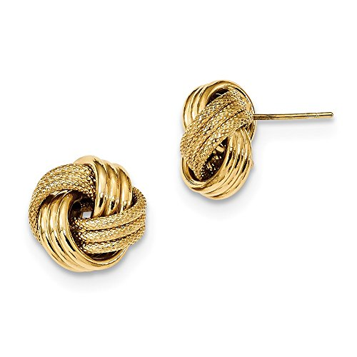 FB Jewels Solid 14K Yellow Gold Polished Textured Triple Love Knot Post Earrings