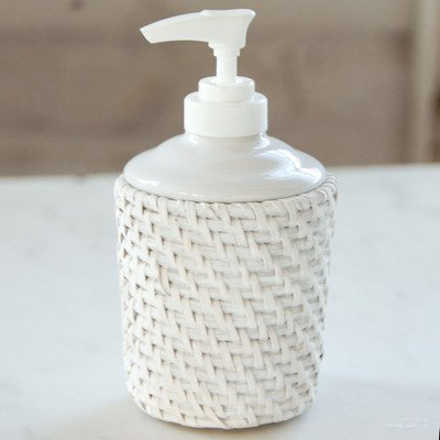 LaMont Home Cayman Bath Collection, Lotion Dispenser, White (White Wicker Bathroom Accessories)