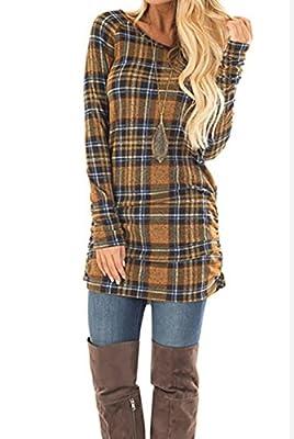 Tshirt Dress for Women Fall Casual Long Sleeve Plaid Bodycon Tunic Mini Dress Side Ruching