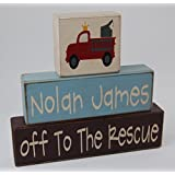 Off To The Rescue - Personalized Name - Firefighter - Fireman Theme Primitive Country Wood Stacking Sign Blocks-Baby Shower Gift Centerpiece - Fireman Birthday - Fireman Nursery Room Home Decor