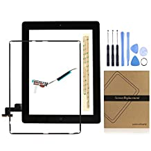 Universal Buying (TM) iPad 2 Screen Replacement Digitizer Front Display Touch Screen Assembly - Includes Pre-Installed Home Button +Camera Holder +AdhesiveTape +Middle Frame Bezel+WIFI Antenna Cable with Tool and Repair Kit for ipad 2nd (Black)