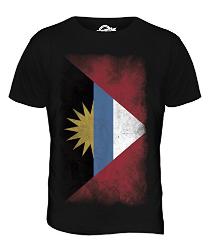 - CandyMix Men's Antigua And Barbuda Faded Flag T Shirt T-Shirt Top, Size Medium, Color Black