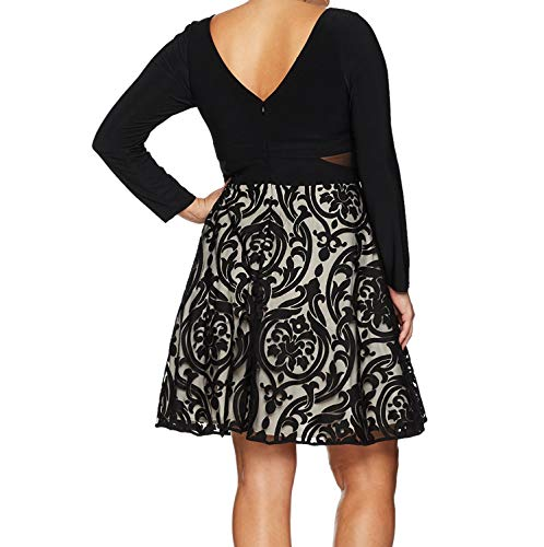 Xscape Women's Plus Size Short Flocked Party with Long Sleeve Ity Top, Black/Stone, 18W by Xscape (Image #1)