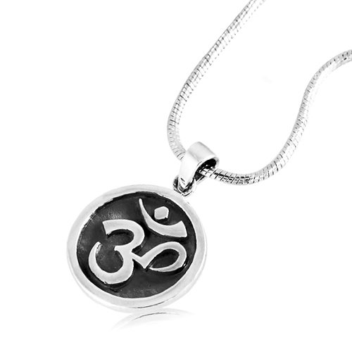 925 Sterling Silver Om Ohm Hindu Yoga Symbol Medallion Pendant on Alloy Necklace Chain, 18 inches