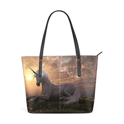 COOSUN Einhorn unter Sonnenuntergang PU Leder Schultertasche Handtasche und Handtaschen Tasche für Frauen