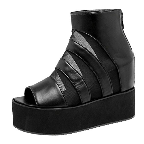 TAOFFEN Women's High Heel Sandals Flatform Shoes Black-28 Tt4dfDW