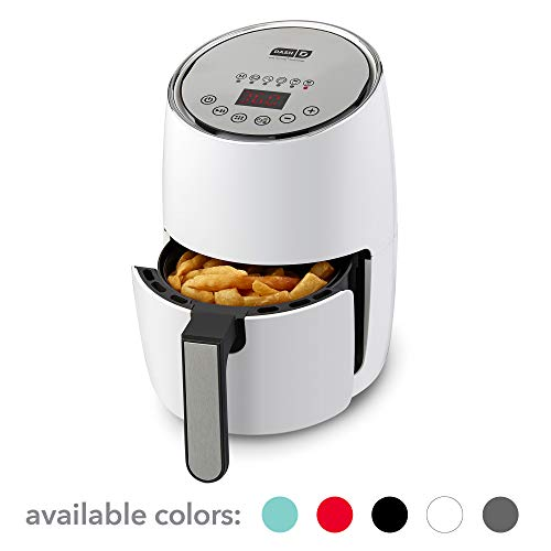 DASH Compact Electric Air Fryer + Oven Cooker with Digital Display, Temperature Control, Non Stick Fry Basket, Recipe Guide + Auto Shut Off Feature, 1.6 L, up to 2 QT, White