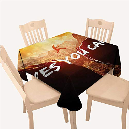 WilliamsDecor Yes You Can Themed Jacquard Tablecloth Motivational Inspirational Quotes Climbing Jumping Sports of Congratulations Gifts LoversYellow Brown Black Square Tablecloth W70 xL70 -