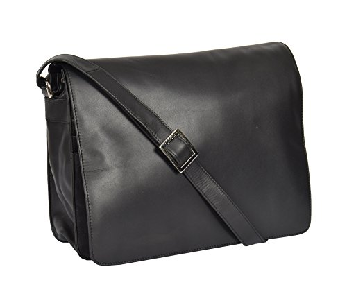 Body Shoulder Work Flap Cross Leather Womens LARGE A53 Bag Black Bag Over 0xSAwfqA